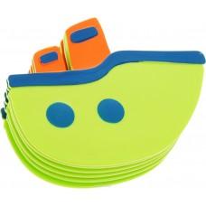 Мини-коврик для ванной комнаты КОРАБЛИКИ (на присосах), цвета микс: зелёный,голубой, 1 шт